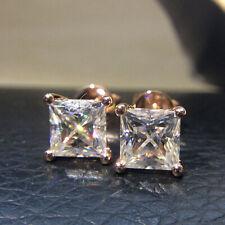 2.0CTW Princess Brilliant DEF Push Back Moissanite Stud Earring 14K White Gold