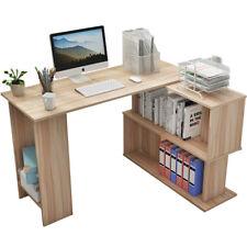 1.2M L Shaped Office Desk Corner Computer Desk Study Table Bookcase Shelf 2color