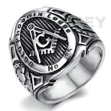 Mason Freemasonry College Style Stainless Steel Mens Masonic Ring Blue Lodge 85