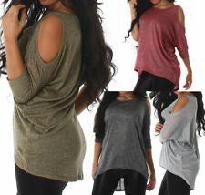 Sexy Damen Oversize Girl Shirt Fledermaus Arm Out Cut Glitzer Lurex 34/36/38 TOP