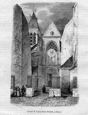 Stampa antica PARIGI Chiesa Saint-Medard Francia 1845 Ancien Gravure Old Print
