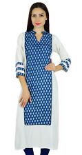 Bimba Women Blue Cotton Long Straight Kurta Kurti Casual Blouse Summer Wear