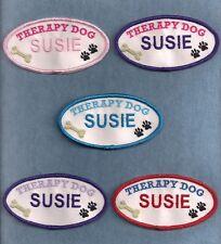 "THERAPY DOG PERSONALIZED -  2""h x 4""w oval -- service dog vest patch --"