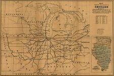Affiche, Plusieurs Tailles; Carte de Chicago Chemin Fer & Canal Connecteurs 1850
