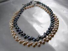 Echt Süsswasser Perlenkette Collier 2 reihig versetzt angeordnet Farbe wählbar