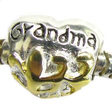 14K Gold on Sterling Silver Heart Love Grandma Bead for European Charm Bracelets