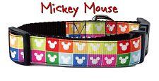 "Mickey Mouse dog collar handmade adjustable buckle collar 1""wide or leash Disney"