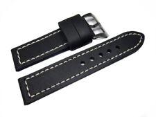 Uhrenband mit Breitdorn - extra starkes Leder- schwarz - 22,24,26 mm