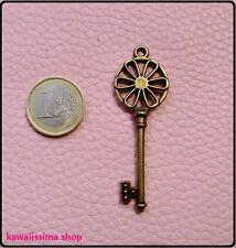 2 charm chiave  ciondolo vintage color bronzo 6,5cm
