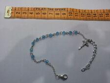 bracciale  rosario religioso cristalli acquamarina  celeste bracciale bracelet