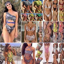 Women Casual Halter Sleeveless Leopard Snake Print Bikini Swimsuit Set Padded