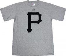 Pittsburgh Pirates Majestic MLB Soft Density Logo Gray T-Shirt