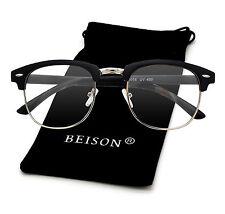 Horned Rim Womens Mens Vintage Classic Glasses Frame Nerd Eyeglasses Clear Lens