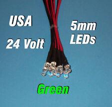 10 x LED - 5mm PRE WIRED LEDS 24 VOLT GREEN 24V DC USA