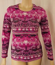 NEW W.Lane Fuchsia Beaded Long Sleeve Soft Top Tunic Size 8 10 12 14 BNWOT # W94
