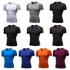 Men T Shirt Compression Base Under Layer Short Sleeve Tight Sport Top Training