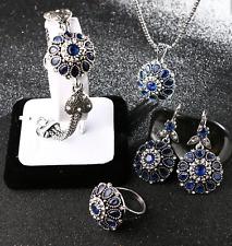 Blue CZ Sapphire Necklace, Bracelet, Ring & Earrings Jewelry 4 Pc Gift Set