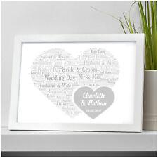 Wedding Day Gifts for Couples Personalised Wedding Heart Keepsake Bride & Groom