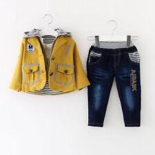 TODDLER BOY 3 PC Outfit Set Partito Tuta Taglia 1-6 anni giacca + top + JEANS.. REGALO