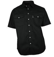 western-speicher chemise jean manches courtes coton noir taille S - 4XL