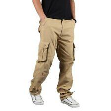 Mens Loose Fit Pocket Overalls Cargo Pants Trousers Long Pants 100% Cotton Size