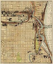 Old City Map - Milwaukee Harbor Wisconsin Landowner 1916 - 23 x 27.69