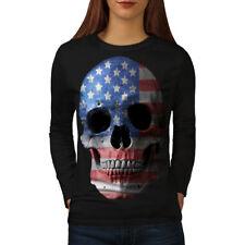 TESCHIO BANDIERA AMERICANA USA le donne manica lunga T-shirt Nuove | wellcoda