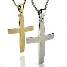 Greek Christening White Gold 14 K carat Men's Solid Cross SandBlast & Polishing