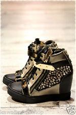 Scarpe gioiello donna sportive con tacco interno STRASS borchie nero o bianco