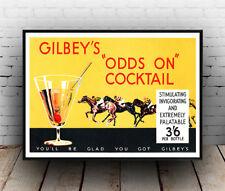 Gilbeys probabilidades de cócteles, bebidas alcohólicas anuncio, cartel de reproducción.