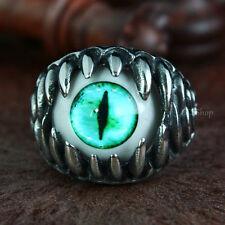 Mens Punk Dragon Teeth Turquoise Cat Snake Reptile Eye 316L Stainless Steel Ring