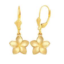 Solid 10k / 14k Yellow Gold Small Five Petal Plumeria Flower Matte Earrings Set