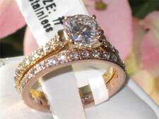 wedding engagement ring set ladies rose gold yellow gold band two tone 2pcs 968