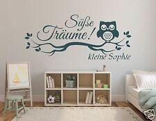 Wandtattoo Kinderzimmer Eule mit Name Baby  Sticker süße Träume Wunschname pkm2