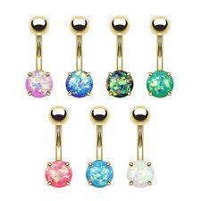 Belly Bars Opal Glitter Gem Prong Set Surgical Steel Navel Button Ring GOLD