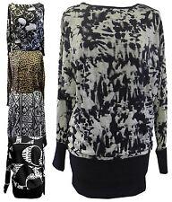 Ladies Full Cuff Sleeve Leopard Skull Printed Waist Band Batwing Tops 16-34
