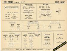 1957 DODGE CORONET 6cyl 230 Car SUN ELECTRIC SPEC SHEET