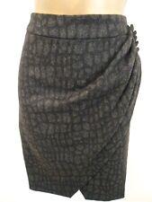 New Ladies KAREN MILLEN Dark Grey Croc Wool mix Draped Fitted Pencil Skirt UK Sz