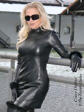 Lederkleid Leder Kleid Schwarz Langarm Größe 32 - 58 XS - XXXL