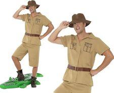 UOMO ANNI 80 ANNI 80 Safari Man Costume Coccodrillo Cacciatore Nuovo Da Smiffys