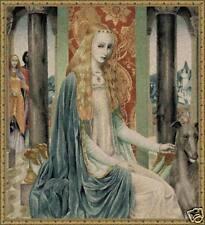 "Lady Owein Medieval Tapestry Beautiful Woman Portrait 34""x32"""