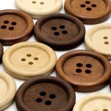 Knopf Set in 3 verschiedenen Farben beige braun dunkelbraun rund Holz Natur
