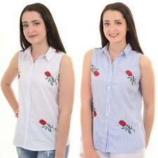 Mujer Rosa Floral Sin Mangas Con Botones Rosa Floral Bordado Blusa top camisa