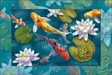 Koi Fish Tile Mural Backsplash Ceramic Wilkie Asian Oriental Fish Art POV-JWA046