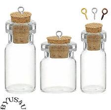 TINY BOTTLE GLASS VIAL CORK AMULET CHARM WICCA POTION MEMORY FLOATING CHARM 10pk