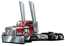 Freightliner Big Rig Semi Truck Cartoon Tshirt 93004 Freight Hauler