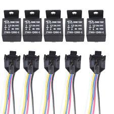 5x 12V 40A 5-Polig 5-Draht Umschalter Wechselrelais Arbeitsstromrelais + Socket