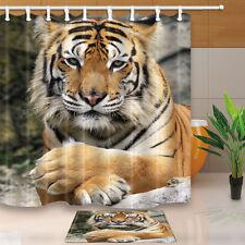 Siberian Tiger Theme Waterproof Fabric Home Decor Shower Curtain Bathroom Mat
