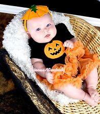 Halloween Baby Girl Black Pumpkin Print Jumpsuit Romper Orange Dress NB-18Month