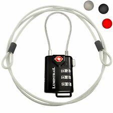 Lumintrail TSA Security 3 Dial Combination Lock Padlock Travel Luggage Cable